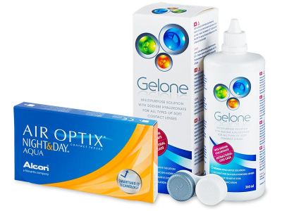 Air Optix Night and Day Aqua (6kpl) +Gelone-piilolinssineste 360ml