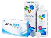 Clear 58 (6kpl) +Gelone -piilolinssineste 360ml