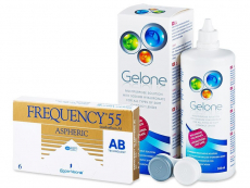 Frequency 55 Aspheric (6 kpl) + Gelone-piilolinssineste 360 ml