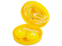 Piilolinssikotelo peilillä - keltainen kuvio