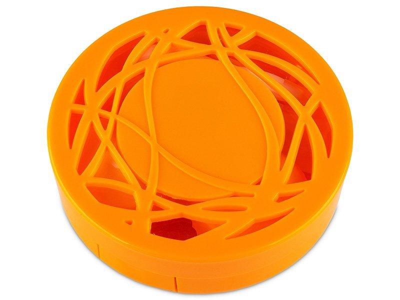Piilolinssikotelo peilillä - oranssi kuvio