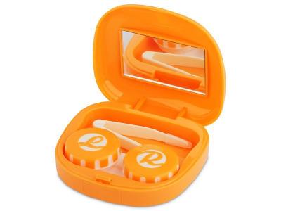 Piilolinssikotelo Face peilillä - oranssi