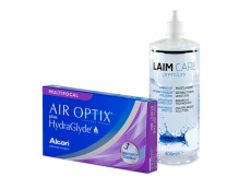 Air Optix plus HydraGlyde Multifocal (3 kpl) + Laim-Care-piilolinssineste 400 ml