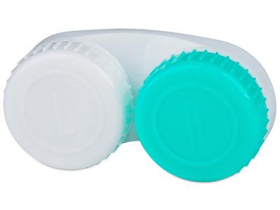 Vihreä & Valkoinen piilolinssikotelo L/R -merkinnöillä