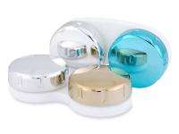 Piilolinssikotelo peilillä - sininen/hopea